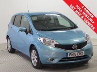 USED 2016 16 NISSAN NOTE 1.2 TEKNA DIG-S 5d AUTO 98 BHP Stunning Nissan Note Tekna Auto with just one previous owner and full service history in beautiful metallic Sonic Blue. Comes with an array of equipment including SAT NAV, 360 degree Camera, Half Leather, Privacy Glass, Air conditioning, Bluetooth, Lane Departure and Blind Spot warning, DA Radio & CD, USB/AUX, Keyless Entry, Leather Multi Functional Steering Wheel, Alloy Wheels, 2 Keys and a Free Warranty. Nationwide Delivery Available. Finance Available at 9.9% APR representative.
