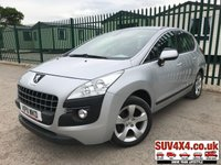 USED 2011 11 PEUGEOT 3008 2.0 HDI SPORT 5d AUTO 163 BHP CRUISE SENSORS AIR CON ALLOYS STUNNING SILVER MET WITH BLACK CLOTH SPORTS TRIM. CRUISE CONTROL. 17 INCH ALLOYS. COLOUR CODED TRIMS. PARKING SENSORS. AIR CON. R/CD PLAYER. MOT 04/20. ONE PREV OWNER. P/X CLEARANCE CENTRE - LS23 7FQ. TEL 01937 849492 OPTION 4