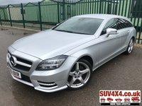 USED 2013 63 MERCEDES-BENZ CLS CLASS 2.1 CLS250 CDI BLUEEFFICIENCY AMG SPORT 5d AUTO 202 BHP SAT NAV LEATHER  AMG SPORTS BODYKIT. SATELLITE NAVIGATION. STUNNING SILVER WITH FULL BLACK LEATHER TRIM. ELECTRIC HEATED SEATS. CRUISE CONTROL. 19 INCH AMG ALLOYS. COLOUR CODED TRIMS. PRIVACY GLASS. PARKING SENSORS. BLUETOOTH PREP. ELECTRIC TAILGATE. DUAL CLIMATE CONTROL INCLUDING AIR CON. R/CD PLAYER. MFSW. MOT 04/20. ONE PREV OWNER. SERVICE HISTORY. SUV4X4 USED CAR CENTRE LS23 7FR TEL 01937 849492 OPTION 1