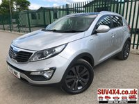 USED 2012 12 KIA SPORTAGE 2.0 CRDI KX-3 SAT NAV 5d 134 BHP 4WD SAT NAV PAN ROOF LEATHER  4WD. SATELLITE NAVIGATION. PANORAMIC SUNROOF. STUNNING SILVER MET WITH BLACK LEATHER TRIM. HEATED SEATS. CRUISE CONTROL. 18 INCH ALLOYS. COLOUR CODED TRIMS. PARKING SENSORS. REVERSING CAMERA. BLUETOOTH PREP. CLIMATE CONTROL WITH AIR CON. MEDIA CONNECTIVITY. R/CD PLAYER. 6 SPEED MANUAL. MFSW. TOW BAR. MOT 04/20. SERVICE HISTORY. SUV & 4X4 CAR CENTRE LS23 7FR. TEL 01937 849492. OPTION 2