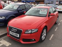 USED 2010 10 AUDI A4 2.0 TDI E SE 4d 134 BHP Red, alloys, 6 speed gearbox, air/con, superb.