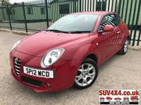 USED 2012 12 ALFA ROMEO MITO 1.4 8V SPRINT 3d 78 BHP CRUISE AIR CON ALLOYS FSH STUNNING RED WITH BLACK CLOTH SPORT TRIM. CRUISE CONTROL. 16 INCH ALLOYS. COLOUR CODED TRIMS. AIR CON. R/CD PLAYER. MFSW. MOT 02/20. SERVICE HISTORY. P/X CLEARANCE CENTRE LS23 7FQ TEL 01937 849492 OPTION 4