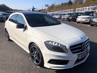 USED 2014 14 MERCEDES-BENZ A-CLASS 2.1 A220 CDI BLUEEFFICIENCY AMG SPORT 5d 170 BHP White, Black leather & Suede, glass sunroof, Sat Nav, AMG Package ++