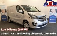 2014 VAUXHALL VIVARO 1.6 2700 CDTI SPORTIVE 115 BHP, Low Mileage (60474) 3 Seats, Air Conditioning, Bluetooth, Cruise Control, Rear Parking Sensors, DAB Radio, Ply Lined, Front Fog Lights £9480.00