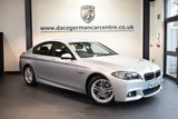 USED 2015 15 BMW 5 SERIES 2.0 520D M SPORT 4DR AUTO 188 BHP full bmw service history *NO ADMIN FEES* GLACIER METALLIC SILVER WITH FULL BLACK LEATHER INTERIOR + FULL BMW SERVICE HISTORY + SATELLITE NAVIGATION + BLUETOOTH + HEATED SEATS + CRUISE CONTROL + DAB RADIO + RAIN SENSORS + PARKING SENSORS + 18 INCH ALLOY WHEELS