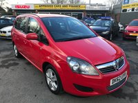 2012 VAUXHALL ZAFIRA 1.6 EXCLUSIV 5d 113 BHP IN RED 59K MILES SERVICE HISTORY GREAT CONDITION PETROL £4799.00
