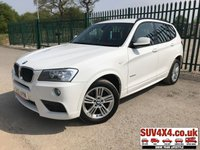 USED 2012 12 BMW X3 2.0 XDRIVE20D M SPORT 5d AUTO 181 BHP 4WD SAT NAV LEATHER FSH XDRIVE 4WD. SATELLITE NAVIGATION. BODYKIT. STUNNING WHITE WITH FULL BLACK LEATHER SPORTS TRIM. CRUISE CONTROL. 18 INCH ALLOYS. COLOUR CODED TRIMS. PARKING SENSORS. KEYLESS ENTRY. BLUETOOTH PREP. CLIMATE CONTROL INCLUDING AIR CON. BLACK INTERIOR ROOF. MFSW. R/CD PLAYER. MEDIA CONNECTIVITY. MOT 04/20. ONE PREV OWNER. FULL SERVICE HISTORY. PRESTIGE SUV CENTRE - LS24 8EJ. TEL 01937 849492 OPTION 1