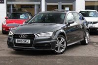 USED 2015 15 AUDI A3 SPORTBACK S-LINE 2.0 TDI 150PS 6 SPEED 5 DOOR 1 OWNER * ONLY £20 ROAD TAX * SAT-NAV * DAB * CRUISE * PARK AID *