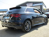 USED 2014 14 AUDI A3 2.0 S3 QUATTRO 3d AUTO 296 BHP STUNNING, 3 DOOR, AUDI S3 2.0 TFSI QUATTRO AUTO. Finished in PHANTOM BLACK PEARL with contrasting EBONY HEATED LEATHER TRIM. This 4x4 S3 has an advanced 2.0 turbocharged petrol engine pumping out 300 BHP, blistering performance with arguably the highest quality interior in its class. Features include Sat Nav, Full Heated Leather, DAB, B/tooth, LED day run lights, Not to be missed.