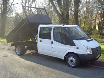 2013 FORD TRANSIT 2.2 350 DRW 1d 99 BHP CREW CAB TIPPER ONLY 38 K MORE IN STOCK (EX COUNCIL) £11490.00