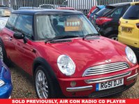 USED 2001 51 MINI HATCH COOPER 1.6 COOPER 3d 114 BHP This is a car we have sold previously, Air Con Radio Cd Player and so much more ...