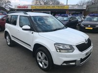 2014 SKODA YETI 2.0 OUTDOOR TOUR DE FRANCE TDI CR 5 DOOR 138 BHP IN WHITE WITH 92000 MILES ANS A GOOD SPEC INCLUDING SAT NAV. £8499.00