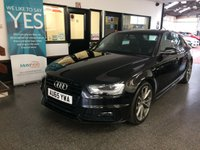 USED 2015 65 AUDI A4 2.0 TDI BLACK EDITION NAV 4d AUTO 148 BHP Owned by one local company, full service history, September Mot. Fitted with Sat Nav, Bluetooth & Bang & Olufsen sound upgrade. Finished in Mythos Black with Black part leather seats.