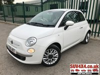 USED 2015 15 FIAT 500 1.2 POP STAR 3d 69 BHP AIR CON ALLOYS FSH WHITE WITH WHITE AND GREY CLOTH TRIM. 15 INCH ALLOYS. COLOUR CODED TRIMS. AIR CON. R/CD PLAYER. MFSW. MOT 04/20. ONE PREV OWNER. FULL SERVICE HISTORY. P/X CLEARANCE CENTRE LS23 7FQ TEL 01937 849492 OPTION 4