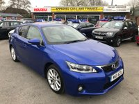 2011 LEXUS CT 1.8 200H SE-L PREMIER 5 DOOR AUTO 136 BHP IN METALLIC BLUE WITH SAT NAV AND LEATHER AND ONLY 44000 MILES £10999.00
