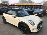 2016 MINI CONVERTIBLE 1.5 COOPER 2d 134 BHP IN METALLIC CREAM WITH ONLY 7500 MILES WITH A FULL SERVICE HISTORY £11799.00