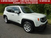 USED 2015 65 JEEP RENEGADE 1.4 LONGITUDE 5d 138 BHP All retail cars sold are fully prepared and include - Oil & filter service, 6 months warranty, minimum 6 months Mot, 12 months AA breakdown cover, HPI vehicle check assuring you that your new vehicle will have no registered accident claims reported, or any outstanding finance, Government VOSA Mot mileage check. Because we are an AA approved dealer, all our vehicles come with free AA breakdown cover and a free AA history check.. Low rate finance available. Up to 3 years warranty available.