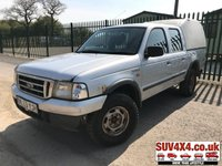 USED 2003 53 FORD RANGER 2.5 DOUBLE CAB4X4 TD 1d 107 BHP FULL CANOPY TOWBAR A/C MOT 09/19 NO VAT. 4WD. REAR CANOPY. SILVER MET WITH GREY CLOTH TRIM. COLOUR CODED TRIMS. AIR CON. PAS. RADIO/TAPE PLAYER. TOW BAR. MOT 09/19. VOSA HISTORY. AGE MILEAGE RELATED SALE. PART EXCHANGE CLEARANCE CENTRE - LS23 7FQ. TEL 01937 849492 OPTION 4
