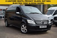 USED 2014 14 MERCEDES-BENZ VIANO 2.1 AMBIENTE CDI BLUEEFFICENCY 5d 163 BHP We are delighted to offer for sale this 2014 Mercedes Viano 2.2cdi Blue efficiency AMBIENTE AUTO 8 SEAT in black with a black full leather interior. High specification includes SAT NAV, BLUETOOTH, REAR HEATING, HEADLAMP WASHERS, TWIN ELECTRIC SLIDING DOORS, PRIVACY GLASS AND REAR PARK SENSORS. Just 2 keepers from new.