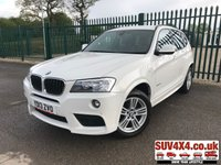 USED 2013 13 BMW X3 2.0 XDRIVE20D M SPORT 5d AUTO 181 BHP 4WD SAT NAV LEATHER  XDRIVE 4WD. SATELLITE NAVIGATION. M-SPORT BODYKIT. STUNNING WHITE WITH FULL BLACK LEATHER SPORTS TRIM. CRUISE CONTROL. 18 INCH ALLOYS. COLOUR CODED TRIMS. PARKING SENSORS. BLUETOOTH PREP. DUAL CLIMATE CONTROL INCLUDING AIR CON. MFSW. R/CD PLAYER. MEDIA CONNECTIVITY. MOT 0919. SERVICE HISTORY. PRESTIGE SUV CENTRE - LS24 8EJ. TEL 01937 849492 OPTION 1