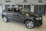 USED 2014 14 AUDI Q3 2.0 TDI QUATTRO S LINE 5d 138 BHP FINISHED IN STUNNING BLACK WITH BLACK HALF LEATHER SEATS + FULL AUDI SERVICE HISTORY + SATELITE NAVIGATION + AIR CONDITIONING + BLUETOOTH + DAB RADIO + DUAL CLIMATE CONTROL + CRUISE CONTROL + REAR PARKING SENSORS + LED DAYTIME RUNNING LIGHTS...