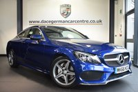 USED 2016 66 MERCEDES-BENZ C CLASS 2.1 C 220 D AMG LINE 2DR AUTO 168 BHP full Mercedes service history  *NO ADMIN FEES* FINISHED IN BRILLIANT METALLIC BLUE WITH FULL BLACK LEATHER INTERIOR + FULL MERCEDES SERVICE HISTORY + SATELLITE NAVIGATION + REVERSE CAMERA + BLUETOOTH + CRUISE CONTROL + HEATED SEATS + PARKING SENSORS + AMG STYLE PACKAGE + ELECTRIC BOOT + DAB RADIO + AUTO STOP/START + 18 INCH AMG ALLOY WHEELS