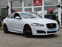 "USED 2015 65 JAGUAR XF 2.2 D R-SPORT BLACK 4d AUTO 200 BHP STUNNING, 1 OWNER, JAGUAR XF, 2.2D R-SPORT BLACK EDITION 200BHP AUTO. Finished in GLACIER WHITE metallic with contrasting BLACK HEATED LEATHER. This Jag stands out from the crowd with its swooping, handsome looks. This car really does drive as well as it looks. Features include 20"" Alloys, Sat Nav, Heated Leather, Reverse Cameras, Park sensors, LED run Lights and much more."