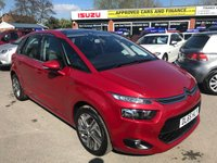 2015 CITROEN C4 PICASSO 1.6 E-HDI EXCLUSIVE 5 DOOR 113 BHP IN METALLIC RED WITH 40000 MILES IN IMMACULATE CONDITION. £8999.00