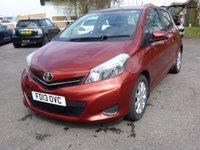 USED 2013 13 TOYOTA YARIS 1.3 VVT-I TR 5d 98 BHP Low mileage, Great specification including Reversing camera, FSH, Alloys, Air-conditioning £125 RFL