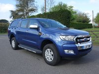 USED 2017 17 FORD RANGER XLT 4X4 DOUBLE CAB PICK UP 2.2TDCI 150 BHP Good Looking Truck In Metallic Blue With Many Extras Including Air Con, Alloys, E/W, E/M & Glazed Hardtop!