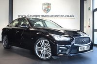 USED 2015 65 INFINITI Q50 2.1 SPORT D AUTO 4DR 168 BHP FINISHED IN STUNNING BLACK WITH FULL BLACK LEATHER INTERIOR + SATELLITE NAVIGATION + BLUETOOTH + REVERSE CAMERA + HEATED ELECTRIC SEATS + CRUISE CONTROL + PARKING SENSORS + DUAL CLIMATE CONTROL + DAB RADIO + 19 INCH ALLOY WHEELS