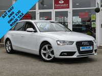 USED 2015 65 AUDI A4 2.0 AVANT TDI ULTRA SE TECHNIK 5d 161 BHP STUNNING, 1 OWNER, £30 ROAD TAX, AUDI A4 2.0 TDI ULTRA SE TECHNIK, 161 BHP. Finished in GLACIER WHITE PEARL with contrasting cream LEATHER trim. This popular Audi Estate has genuine good looks and a luxurious feel. Great to drive and practical with loads of room for the average sized family. Features include, Sat Nav, Blue Tooth, Parking Sensors, DAB, Full Leather and much more.