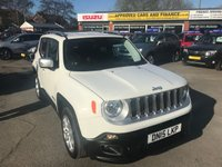 2015 JEEP RENEGADE 1.4 LIMITED 5d 138 BHP IN METALLIC WHITE WITH ONLY 35,500 MILES WITH SAT NAV AND LEATHER SEATS £10499.00