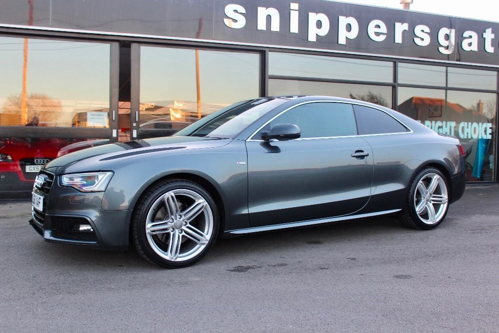 "USED 2011 61 AUDI A5 3.0 TDI S line S Tronic Quattro 2dr Daytona Pearl Grey, 1 Previous Owner, Cruise Controls, 19"" Alloys, 245 BHP, 4x4 Privacy Glass, Tyre Pressure Monitoring, Mobile Telephone Preparation - High/Audio Connect, Heated and Folding Door Mirrors, Audi Music Interface, Recent Full Set of Tyres, Parking Sensors, Technology Pack,  Black Full leather interior, Four wheel-drive, 2 Keys and Book Pack, Full Service History."