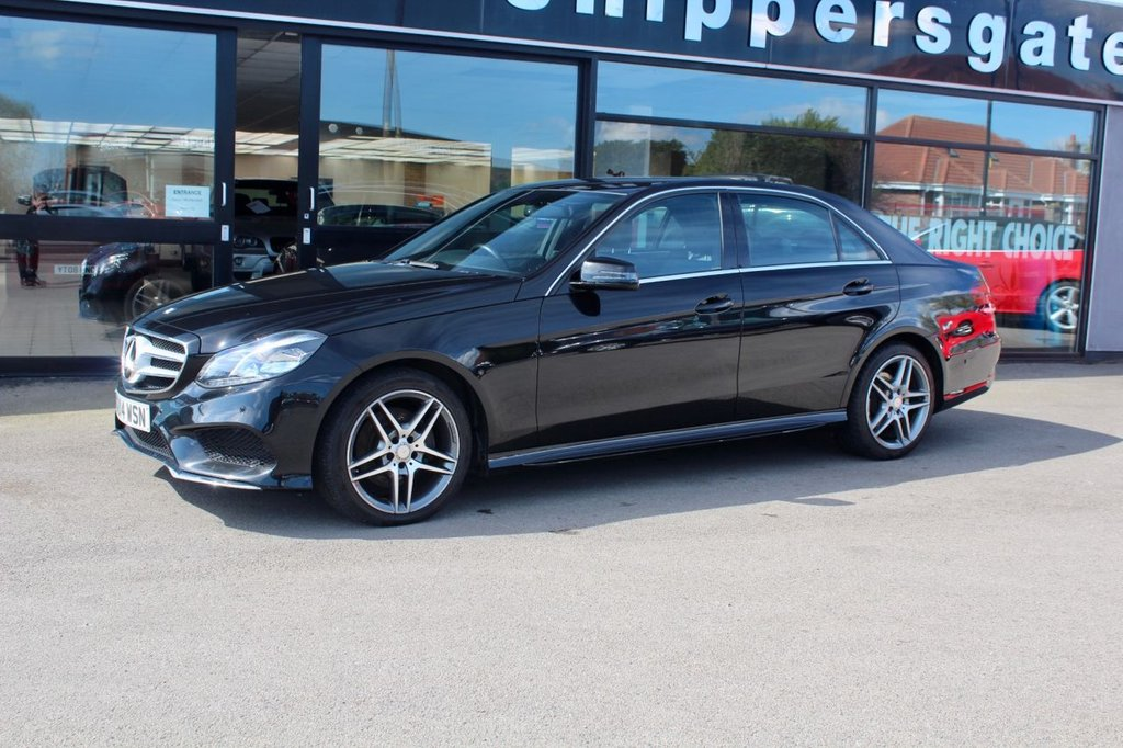 USED 2014 14 MERCEDES-BENZ E-CLASS 2.1 E220 CDI AMG Sport 7G-Tronic Plus 4dr Obsidian Black E220 CDI, Active Park Assist, Command DVD With Navigation, DAB Radio, AMG Styling Package, AMG Sport Package, Premium Line, Heated Seats, Bluetooth Telephone, Xenon Headlights, Tyre Pressure Monitor, Sports Steering Wheel, Black interior, 2 Keys and Book Pack, Full Service History.