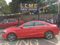 USED 2015 65 MERCEDES-BENZ CLA 1.6 CLA180 SPORT 4d 122 BHP STUNNING JUPITER RED PAINT WORK, HALF ARTICO/CLOTH BLACK SPORTS SEATS, TITANIUM COLOURED ALLOY WHEELS, SAT NAV, PANORAMIC SUNROOF, FRONT AND REAR PDC, 1 OWNER, LOW MILEAGE, LOVELY BIG SPEC
