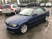 USED 2003 53 BMW 3 SERIES 2.5 325CI SE 2d AUTO 190 BHP CONVERTIBLE IN METALLIC BLUE WITH CREAM LEATHER AND 104000 MILES. APPROVED CARS ARE PLEASED TO OFFER THIS BMW 3 SERIES 2.5 325CI SE 2 DOOR AUTO 190 BHP CONVERTIBLE IN METALLIC BLUE WITH CREAM LEATHER INTERIOR IN GREAT CONDITION INSIDE AND OUT WITH A GOOD SPEC INCLUDING A FULL SERVICE HISTORY SERVICED AT 16K,33K,47K,65K,73K,80K,96K AND 98K A GREAT LOOKING AND DRIVING CAR AT A VERY SENSIBLE PRICE IDEAL FOR THE SUMMER...