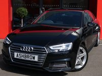 USED 2018 18 AUDI A4 1.4 TFSI S LINE 4d 150 S/S SAT NAV, AUDI SMART PHONE WITH APPLE CAR PLAY & ANDROID AUTO, AUDI CONNECT, HEATED FRONT SEATS, DAB RADIO, CRUISE CONTROL WITH SPEED LIMITER, LED DAYTIME RUNNING LIGHTS, DIRECTIONAL SWEEPING INDICATORS, BLUETOOTH PHONE & MUSIC STREAMING, FRONT & REAR PARKING SENSORS WITH DISPLAY, ALUMINIUM PEDALS, BLACK LEATHER ALCANTARA INTERIOR, SPORT SEATS WITH ELECTRIC LUMBAR SUPPORT, LEATHER MULTIFUNCTION STEERING WHEEL, LIGHT & RAIN SENSORS, AUDI DRIVE SELECT, AUTO HOLD, 1 OWNER, BALANCE OF AUDI WARRANTY