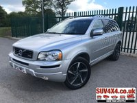 USED 2012 12 VOLVO XC90 R-DESIGN 2.4 D5 2200200 BHP AWD AUTO 7 SEATER SAT NAV LEATHER CRUISE  4WD. 7 SEATER. SATELLITE NAVIGATION. STUNNING SILVER MET WITH FULL BLACK R-DESIGN LEATHER TRIM. ELECTRIC HEATED MEMORY SEATS. CRUISE CONTROL. 19 INCH ALLOYS. COLOUR CODED TRIMS. PRIVACY GLASS. PARKING SENSORS. BLUETOOTH PREP. CLIMATE CONTROL. R/CD PLAYER. MFSW. TOW BAR. ROOF BARS. MOT 11/19. SERVICE HISTORY. SUV & 4X4 CAR CENTRE LS23 7FR. TEL 01937 849492 OPTION 2