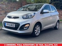 USED 2014 14 KIA PICANTO 1.0 2 5d 68 BHP 2 OWNERS, £0 ROAD TAX, FULL SERVICE HISTORY, 1YR MOT, EXCELLENT CONDITION, ALLOYS, AIR CON, BLUETOOTH, FOGS, RADIO CD, E/WINDOWS, R/LOCKING, FREE WARRANTY, FINANCE AVAILABLE, HPI CLEAR, PART EXCHANGE WELCOME,