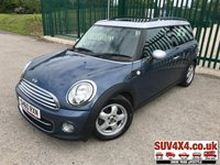 USED 2010 60 MINI CLUBMAN 1.6 COOPER D 5d 112 BHP PAN ROOF PEPPER PACK ALLOYS FSH PANORAMIC SUNROOF. PEPPER PACK. STUNNING BLUE MET WITH BLACK CLOTH TRIM. 15 INCH ALLOYS. COLOUR CODED TRIMS. CLIMATE CONTROL WITH AIR CON. R/CD PLAYER. 6 SPEED MANUAL. ROOF BARS. MOT 12/19. ONE PREV OWNER. FULL SERVICE HISTORY. P/X CLEARANCE CENTRE LS23 7FQ. TEL 01937 849492 OPTION 4