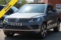 USED 2016 16 VOLKSWAGEN TOUAREG 3.0 V6 R-LINE TDI BLUEMOTION TECHNOLOGY 5d AUTO 259 BHP FREE 6 MONTHS AA WARRANTY SATELLITE NAVIGATION FULL LEATHER INTERIOR