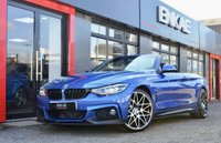 USED 2017 17 BMW 4 SERIES 3.0 430D M SPORT 2d AUTO 255 BHP M PERFORMANCE BODY KIT*20 INCH COMPETITION ALLOYS*BLACK LEATHER*FINISHED IN ESTRIOL BLUE PAINTWORK WITH A GREAT SPEC INCLUDING M4 GLOSS BLACK KIDNEY GRILL CONVERTIBLE COMFORT PACKAGE INCLUDING NECK SCARF AND HEATED STEERING WHEEL PROFESSIONAL WIDE SCREEN NAVIGATION WITH CONCIERGE SERVICES ELECTRIC MEMORY SEATS HEATED FRONT SEATS  BLACK DAKOTA LEATHER WITH ALUMINIUM HEXAGON TRIMS AND MATT BLUE ACCENT STRIPS - XENON LIGHTS - SPORTS AUTOMATIC TRANSMISSION LIGHT PACKAGE CRUISE CONTROL CONNECTED DRIV
