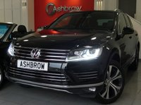 USED 2015 15 VOLKSWAGEN TOUAREG 3.0 TDI V6 R-LINE BLUEMOTION TECH 5d 262 S/S FULL SERVICE HISTORY, HDD SAT NAV, PANORAMIC SUN ROOF (PAN ROOF), FULL BLACK LEATHER, HEATED FRONT SEATS, 20 INCH 10 SPOKE ALLOY WHEELS, DAB RADIO, BLUETOOTH PHONE & MUSIC STREAMING, MDI INPUT, LED XENON LIGHTS, FRONT & REAR PARKING SENSORS WITH DISPLAY, ELECTRIC TAILGATE, KEYLESS ENTRY & START, HEATED STEERING WHEEL, CRUISE CONTROL, ELECTRIC FOLDING HEATED DOOR MIRRORS, LEATHER MULTIFUNCTION TIPTRONIC STEERING WHEEL, HEATED STEERING WHEEL, CRUISE CONTROL, POWER FOLDING MIRRORS