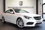 """USED 2016 66 MERCEDES-BENZ E CLASS 2.1 E 220 D AMG LINE EDITION 2DR 174 BHP full service history FINISHED IN STUNNING POLAR WHITE WITH FULL BLACK LEATHER INTERIOR + FULL SERVICE HISTORY + COMAND SATELLITE NAVIGATION + BLUETOOTH + PANORAMIC ROOF + CRUISE CONTROL + HEATED SEATS + DAB RADIO + ELECTRIC FOLDING MIRROR + DYNAMIC LED HEADLAMPS + AMG SPORTS PACKAGE + ACTIVE PARK ASSIST + 19"""" ALLOY WHEELS"""