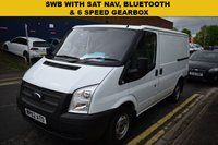 USED 2013 62 FORD TRANSIT 2.2 280 LR 1d 99 BHP SWB Transit with an upgraded stereo unit with SAT NAV AND BLUETOOTH.