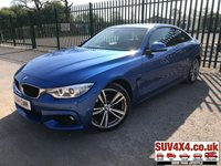USED 2014 14 BMW 4 SERIES 2.0 420D M SPORT 2d AUTO 181 BHP LOW MILES ALLOYS NAV IDRIVE LEATHER CRUISE SATELLITE NAVIGATION. M-SPORT BODYKIT. STUNNING BLUE WITH FULL BLACK LEATHER SPORTS TRIM. HEATED SEATS. CRUISE CONTROL. BLACK INTERIOR ROOF. 19 INCH ALLOYS. COLOUR CODED TRIMS. PRIVACY GLASS. PARKING SENSORS. BLUETOOTH PREP. DUAL CLIMATE CONTROL INCLUDING AIR CON. MFSW. R/CD PLAYER. MEDIA CONNECTIVITY. MOT 04/20. FULL SERVICE HISTORY. LOW MILEAGE. SUV & 4X4 CAR CENTRE LS23 7FR. TEL 01937 849492. OPTION 2