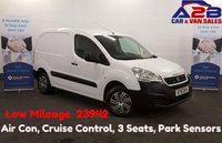 2016 PEUGEOT PARTNER 1.6 HDI SE 850 90 BHP Low Mileage (23942) Air Con, Cruise Control, 3 Seats, Bluetooth, Rear Parking Sensors. Ply-Lined £6980.00