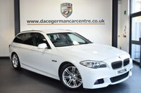 "USED 2013 13 BMW 5 SERIES 2.0 520D M SPORT TOURING 5DR AUTO 181 BHP superb service history FINISHED IN STUNNING ALPINE WHITE WITH FULL BLACK LEATHER INTERIOR + SUPERB SERVICE HISTORY + SATELLITE NAVIGATION + BLUETOOTH + HEATED SEATS + DAB RADIO + CRUISE CONTROL + ECO PRO MODE + PARKING SENSORS + 18"" ALLOY WHEELS"
