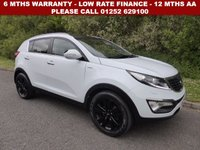 USED 2013 63 KIA SPORTAGE 2.0 CRDI KX-3 5d 134 BHP All retail cars sold are fully prepared and include - Oil & filter service, 6 months warranty, minimum 6 months Mot, 12 months AA breakdown cover, HPI vehicle check assuring you that your new vehicle will have no registered accident claims reported, or any outstanding finance, Government VOSA Mot mileage check. Because we are an AA approved dealer, all our vehicles come with free AA breakdown cover and a free AA history check.. Low rate finance available. Up to 3 years warranty available.